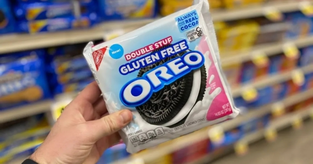 hand holding gluten-free oreos in store