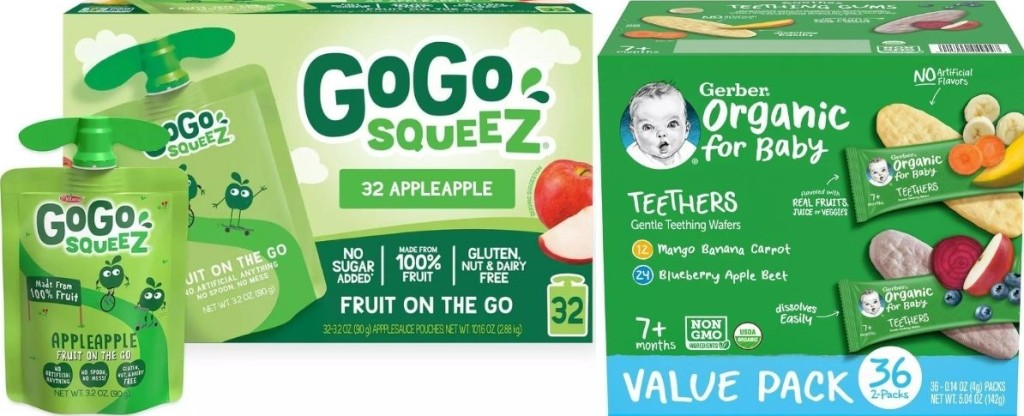 GoGo Squeez Pouches and Gerber Teethers