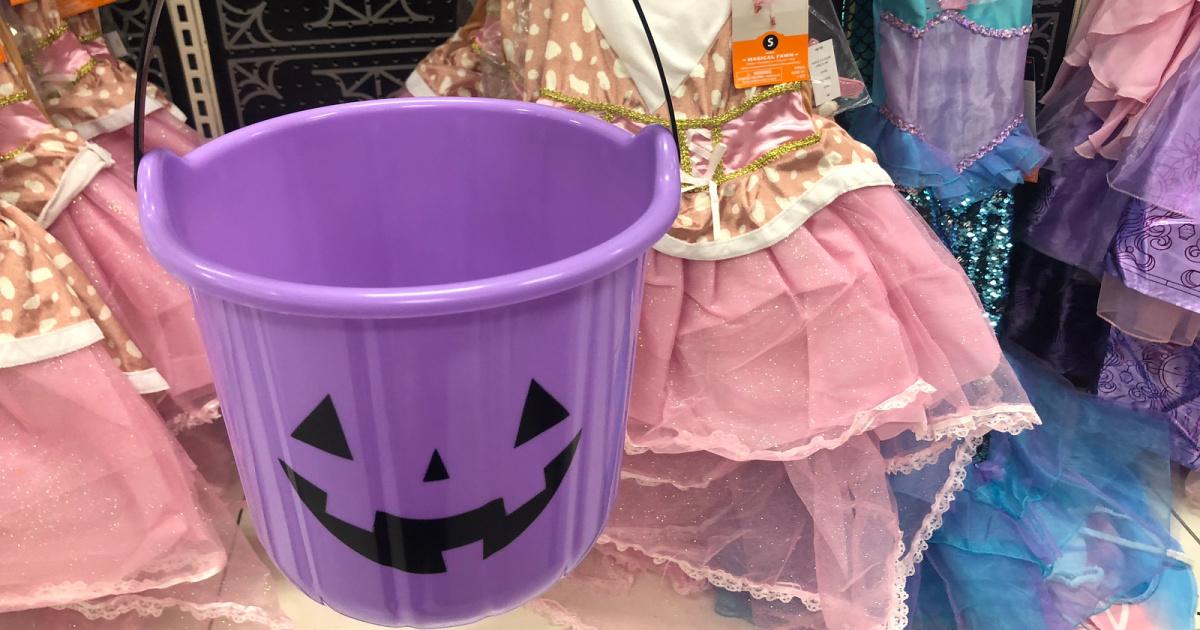 Halloween Candy Buckets in purple