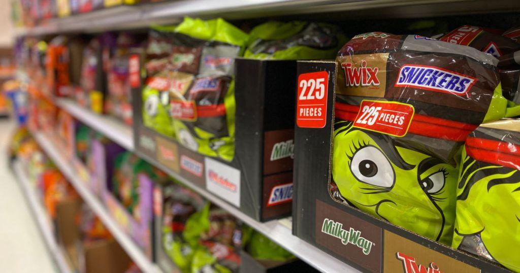 chocolate Halloween candy on shelf