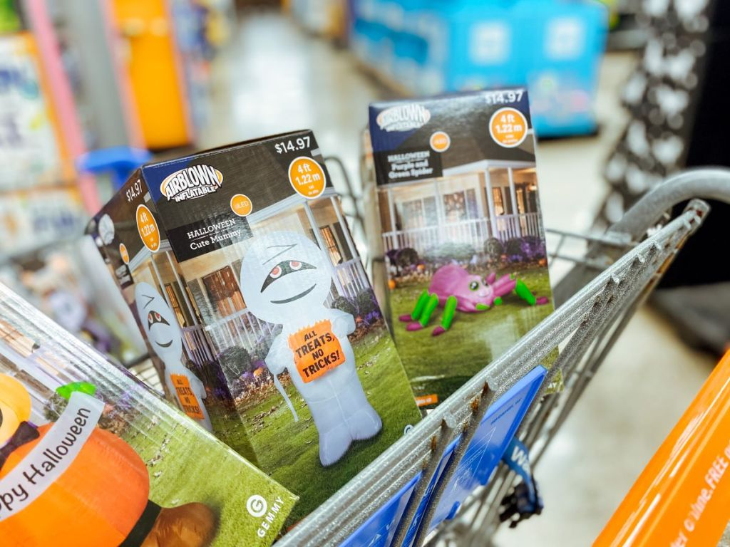 Halloween inflatables in a cart