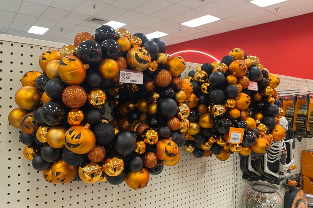Halloween wreaths from Target on display
