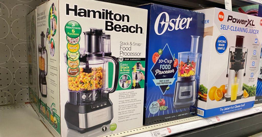 food processor on shelf
