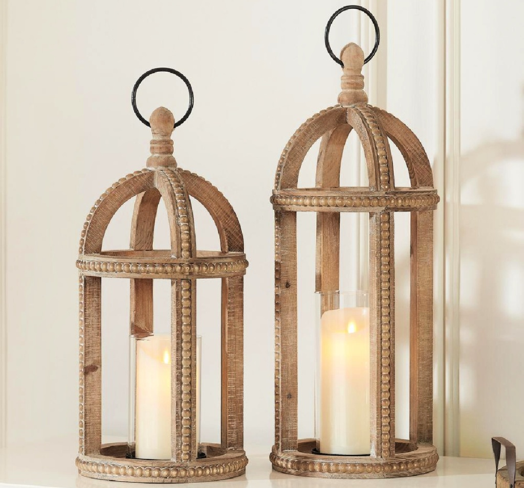 Home Decorators Collection Antiqued 2-Pack Wood Candle Lanterns