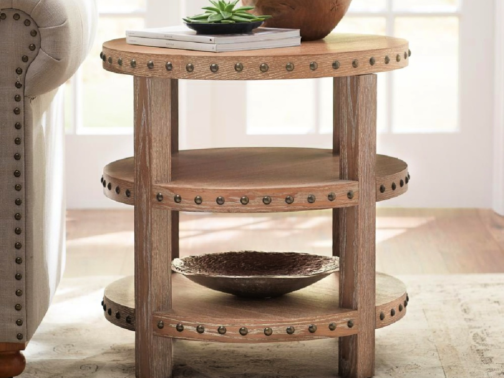 Home Decorators Collection Nailhead Light Washed Oak End Table
