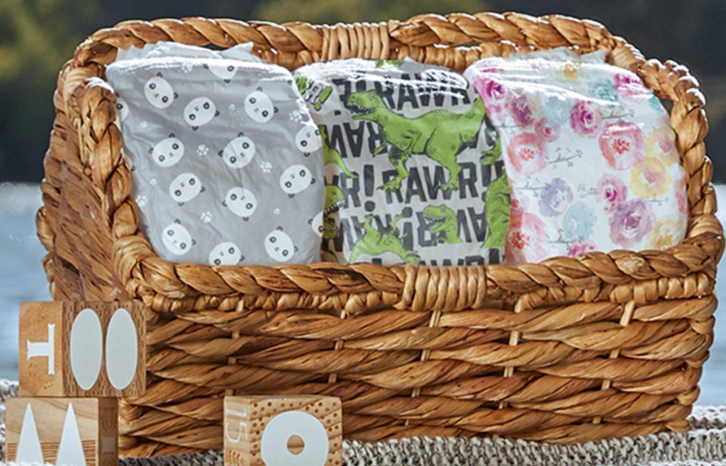 basket with diapers in it