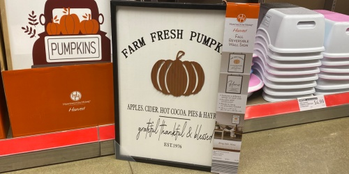 Huntington Home Fall Reversible Wall Signs Just $9.99 at ALDI | Pumpkin Patch, Apple Orchard & More