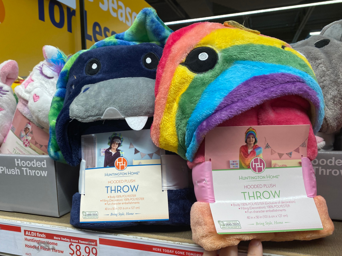 hooded throws on shelf at aldi