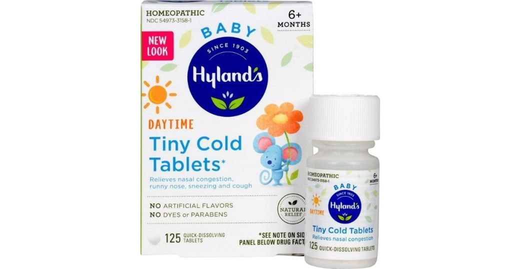 Hyland's Baby Tiny Cold Tablets bottle and box