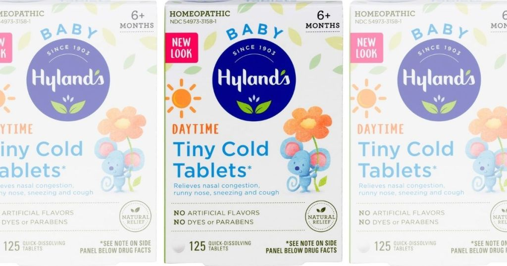 three boxes of Hyland's Baby Tiny Cold Tablets