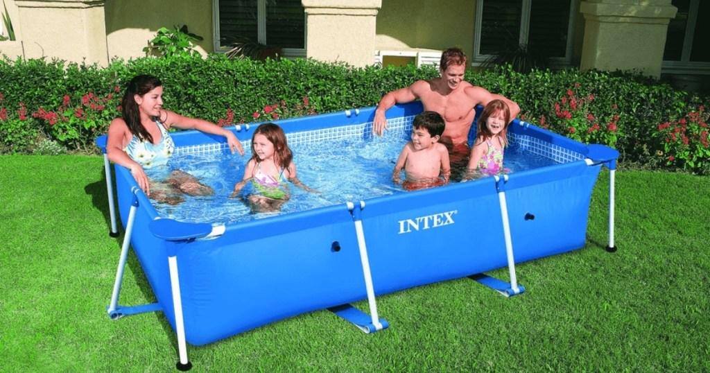 family in intex rectangular splash pool