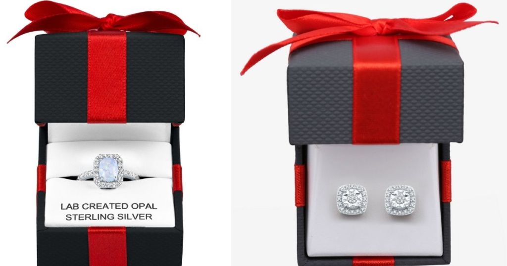 two gift boxes with jewelry