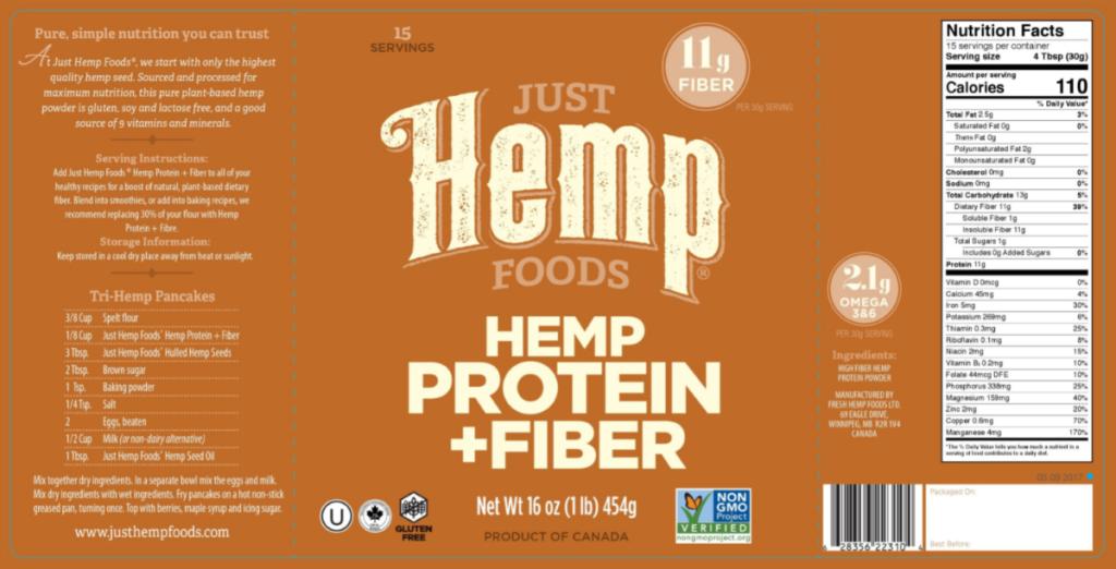 Just Hemp Foods label