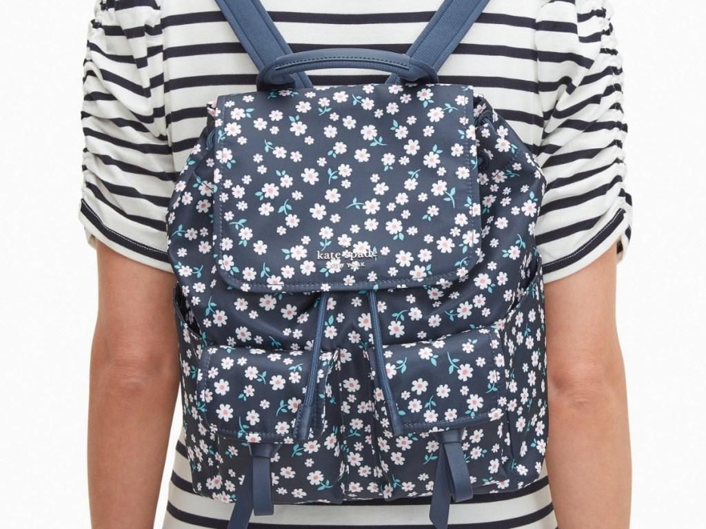 Kate Spade Carley Flap Backpack in Blue Multi