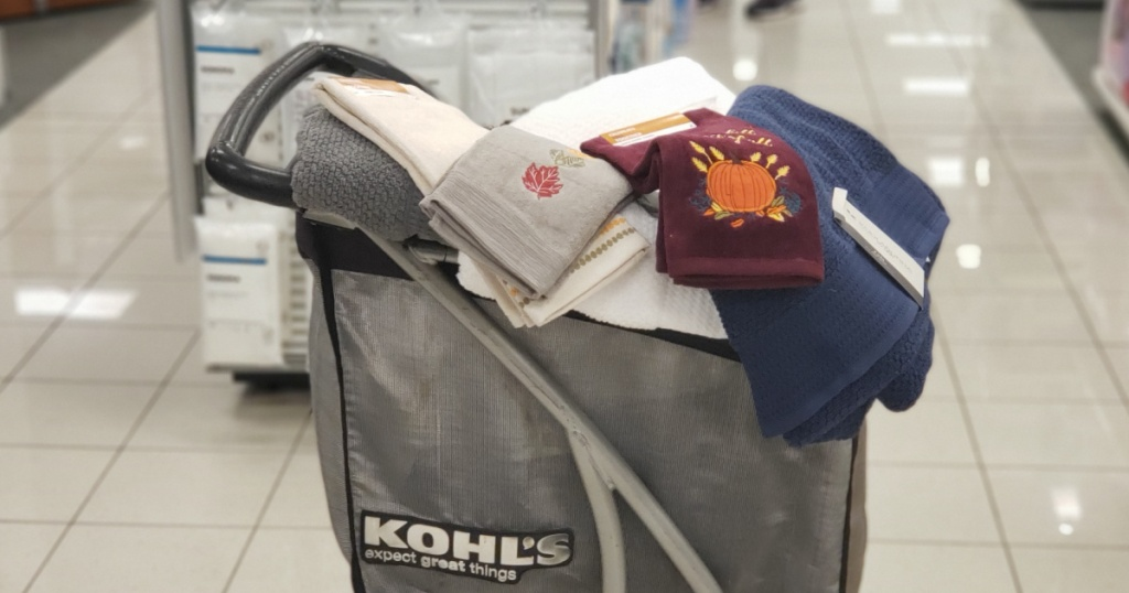 Kohl's Shopping cart with towels