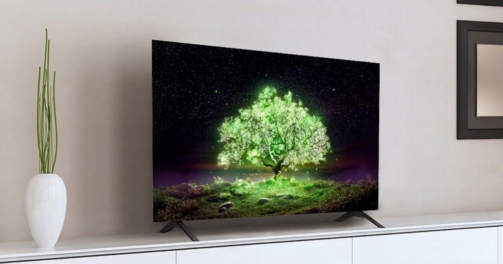 lg 55 inch tv on entertainment center