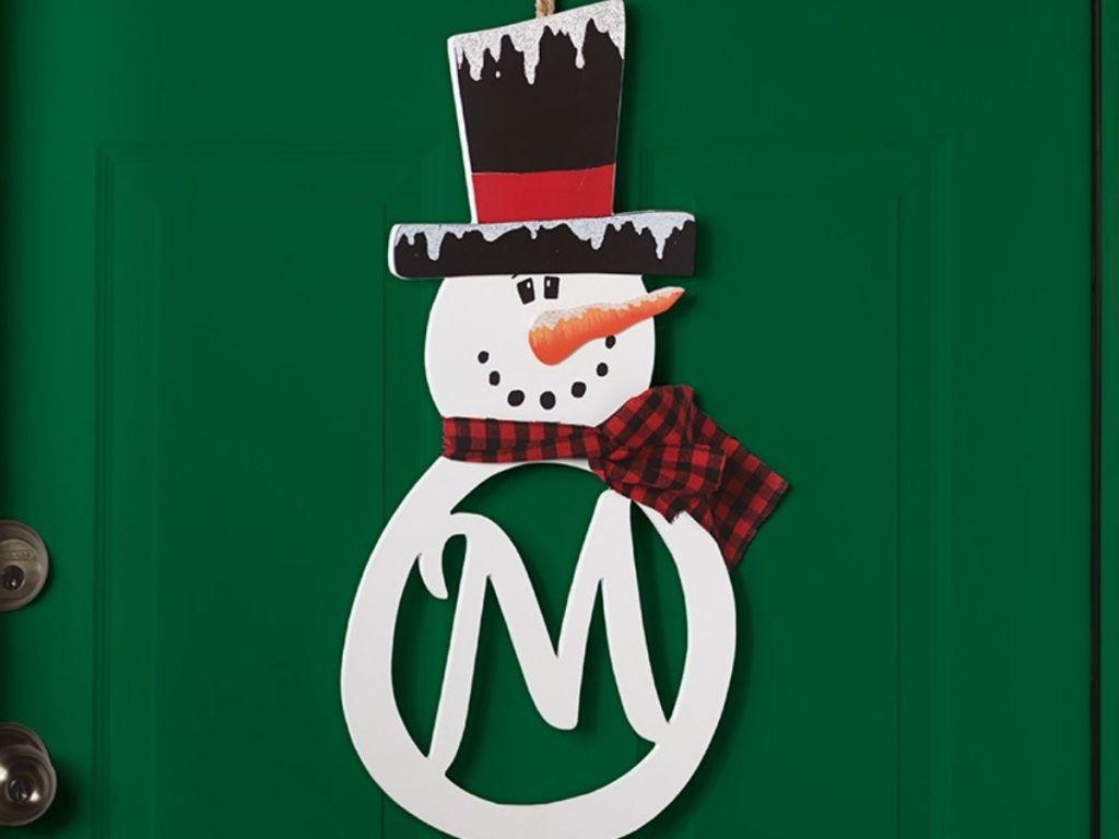snowman monogram door hanger