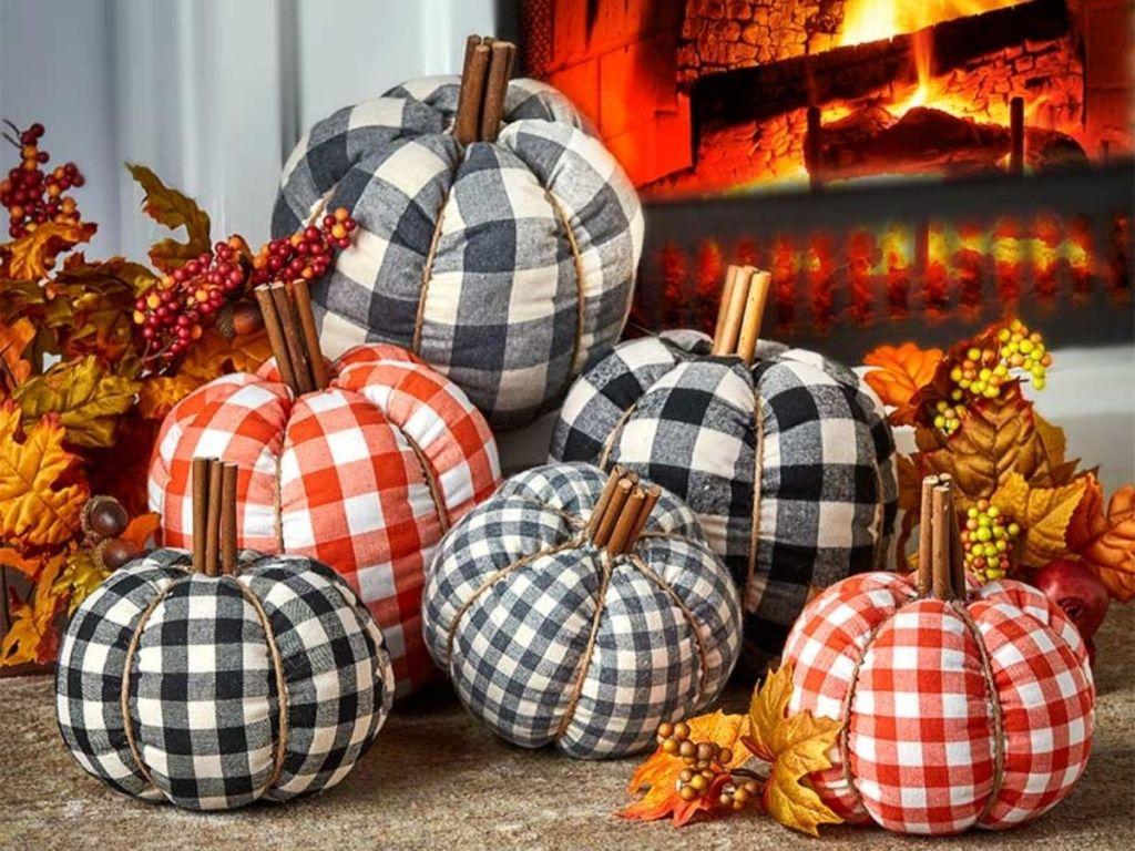 plaid plush pumpkin decorations