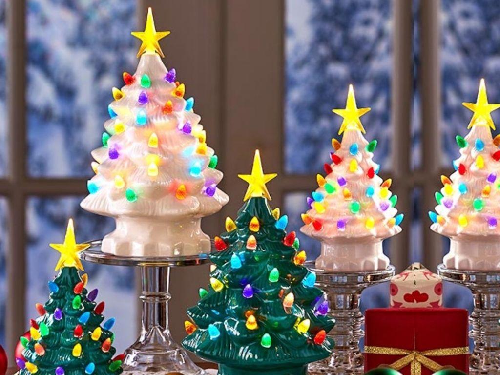 retro-styles light up Christmas trees