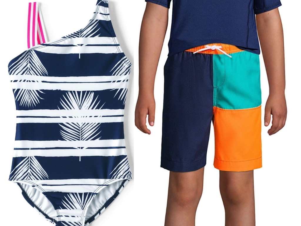 girls one piece swimsuit and boys swim trunks from lands' end