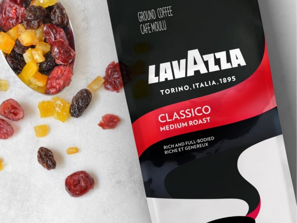 bag of lavazza classico ground coffee with dried fruit