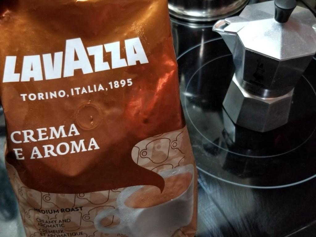 lavazza crema e aroma coffee bag with coffeemaker