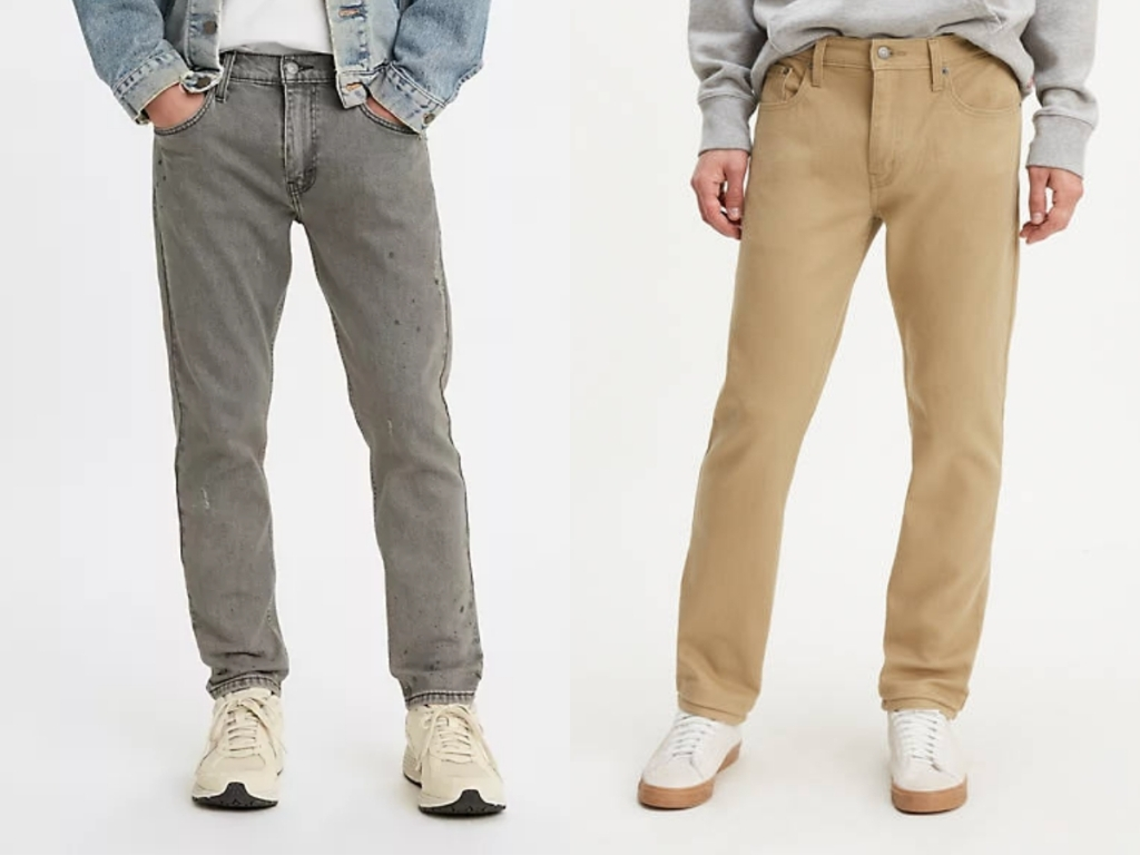 levi's men's gray jeans and kahkis