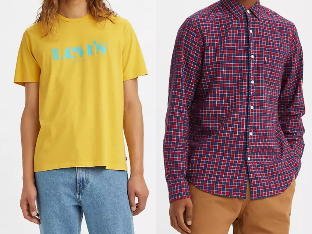 levi's mens t shirt and button up shirt