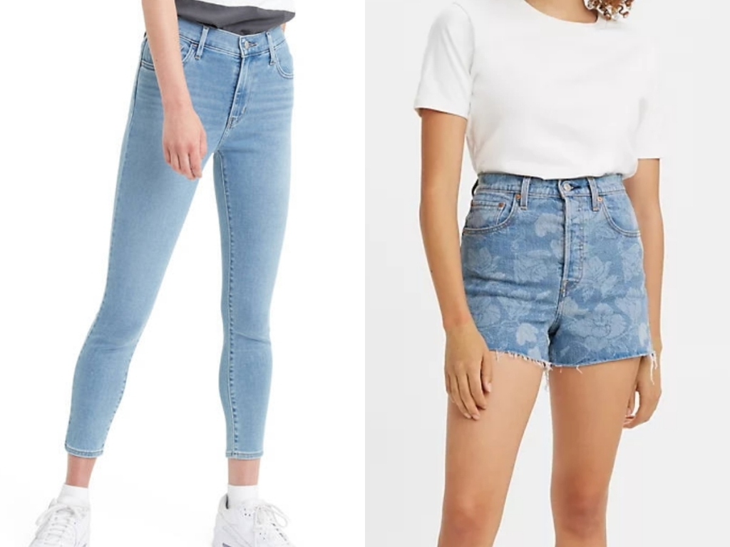 levi's women's jeans and jean patterned shorts