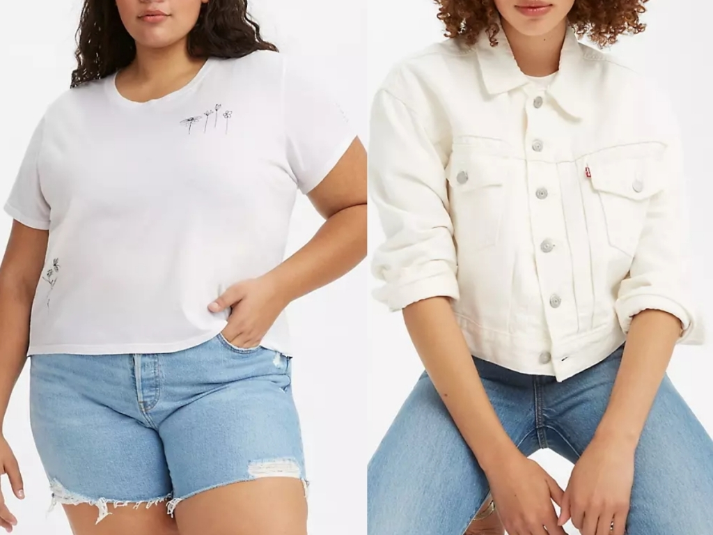 levi's graphic flower tee and white jean jacket for women