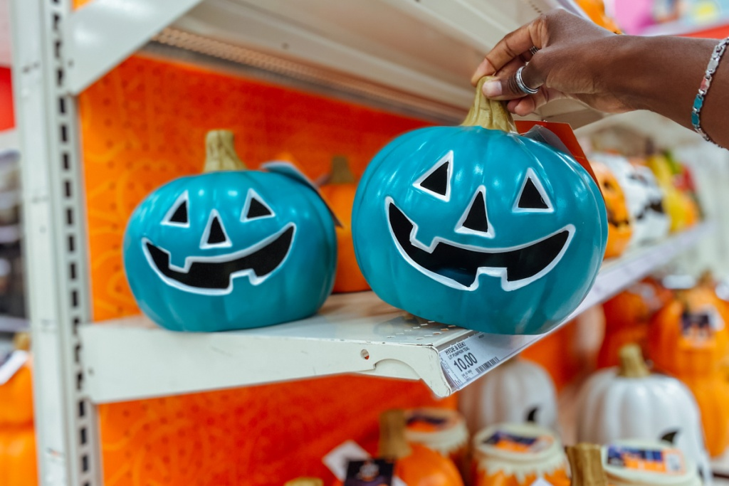 Lit Pumpkin with Happy Face Teal on target shelf hyde and eek
