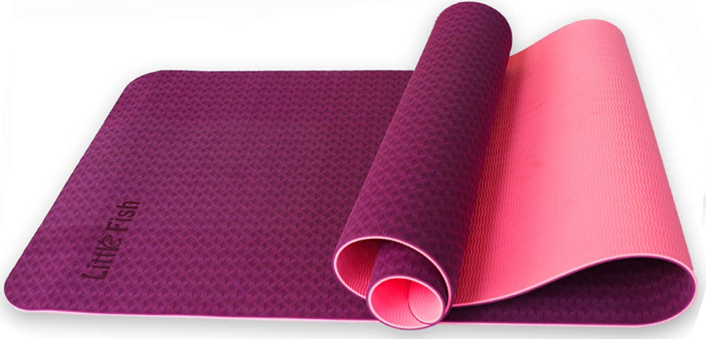 partially rolled up yoga mat