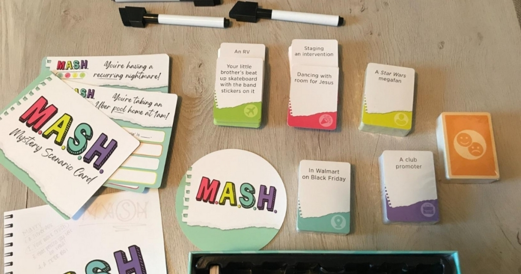 mash adult party game with pieces laid out