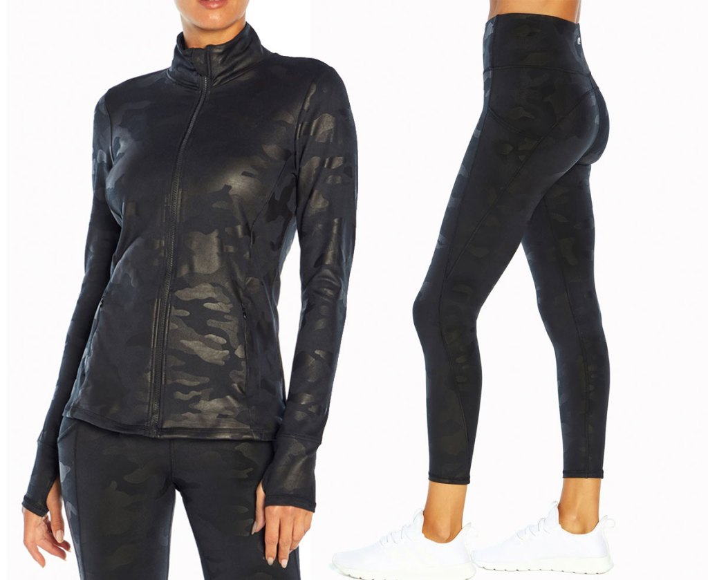 women's black jacket and matching leggings