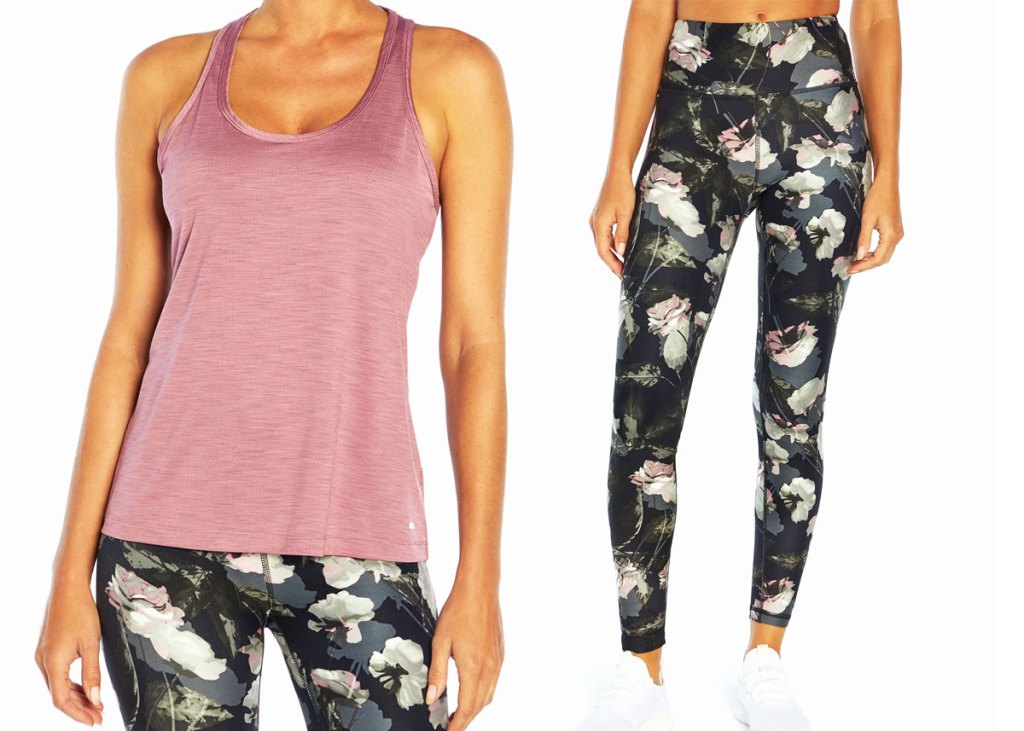 woman in pink tank with floral print leggings