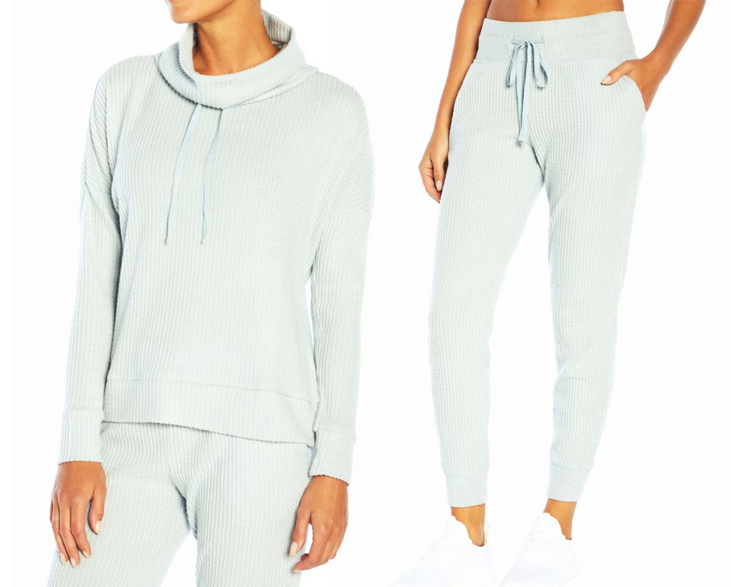women's mint colored hoodie and matching joggers
