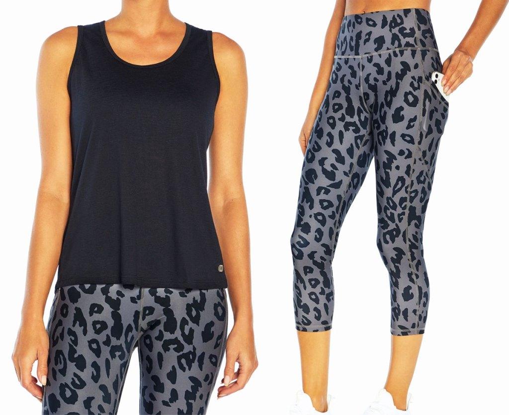 woman in black tank with leopard leggings