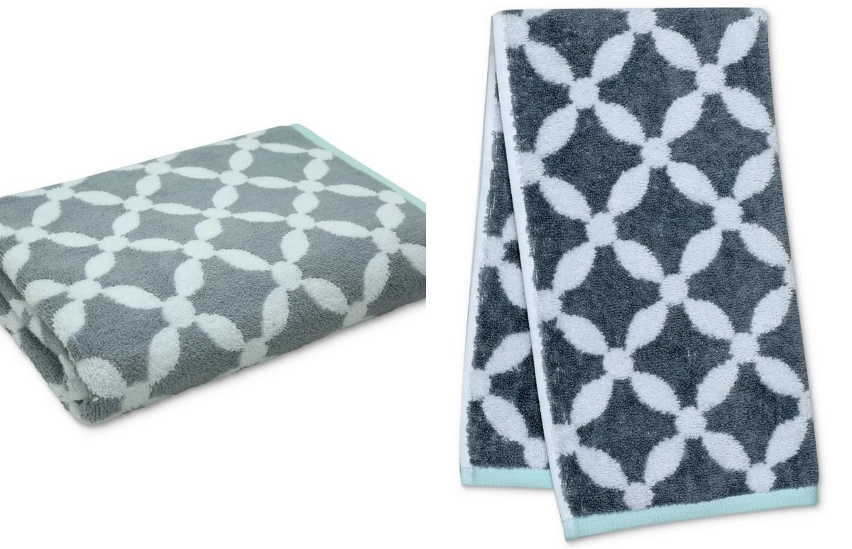 martha stewart dot lattice bath towel and hand towel