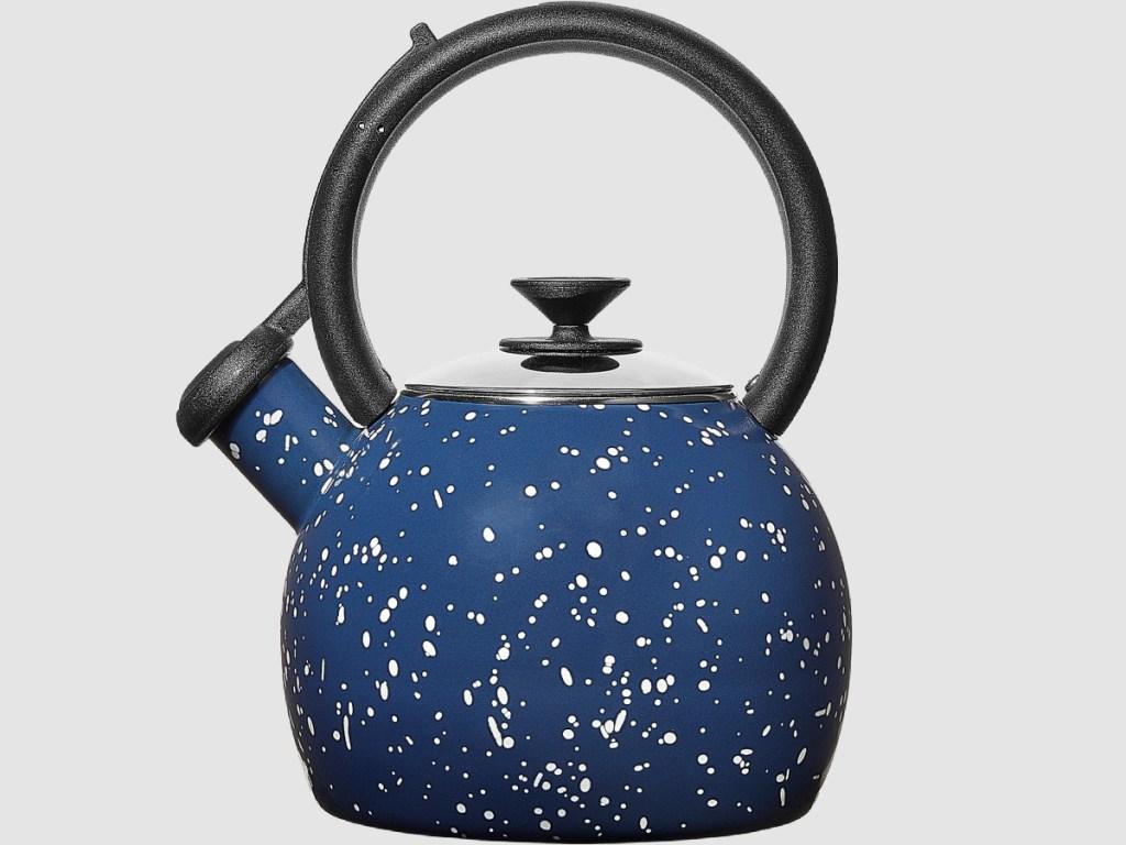 blue speckled teapot