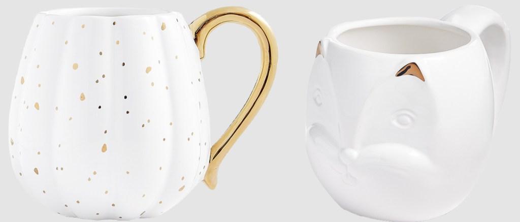 white speckled pumpkin mug and squirrel mug