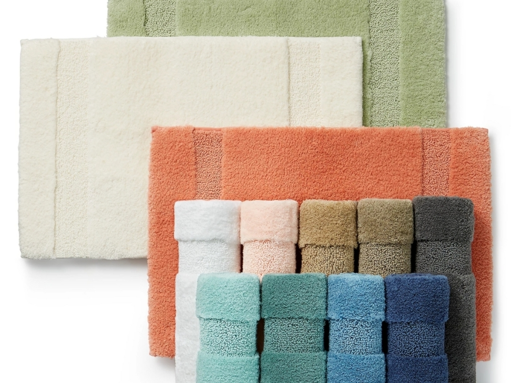 multiple colored bath mats from martha stewart