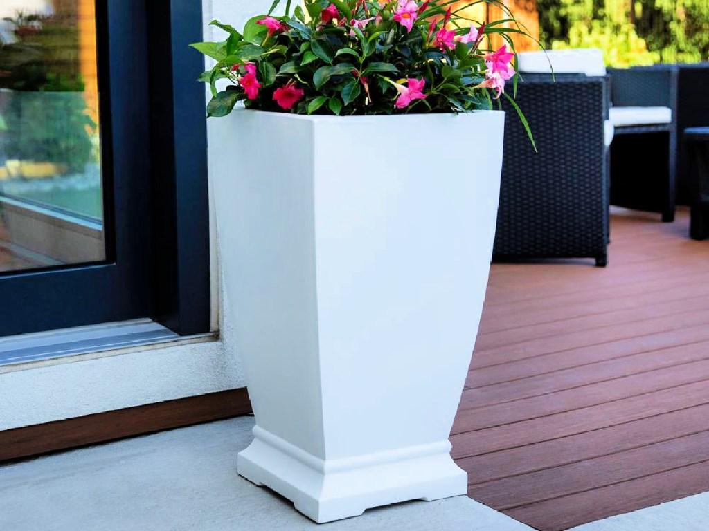 Mayne Acadia 28″ Tall Polyethylene Planter in White or Black