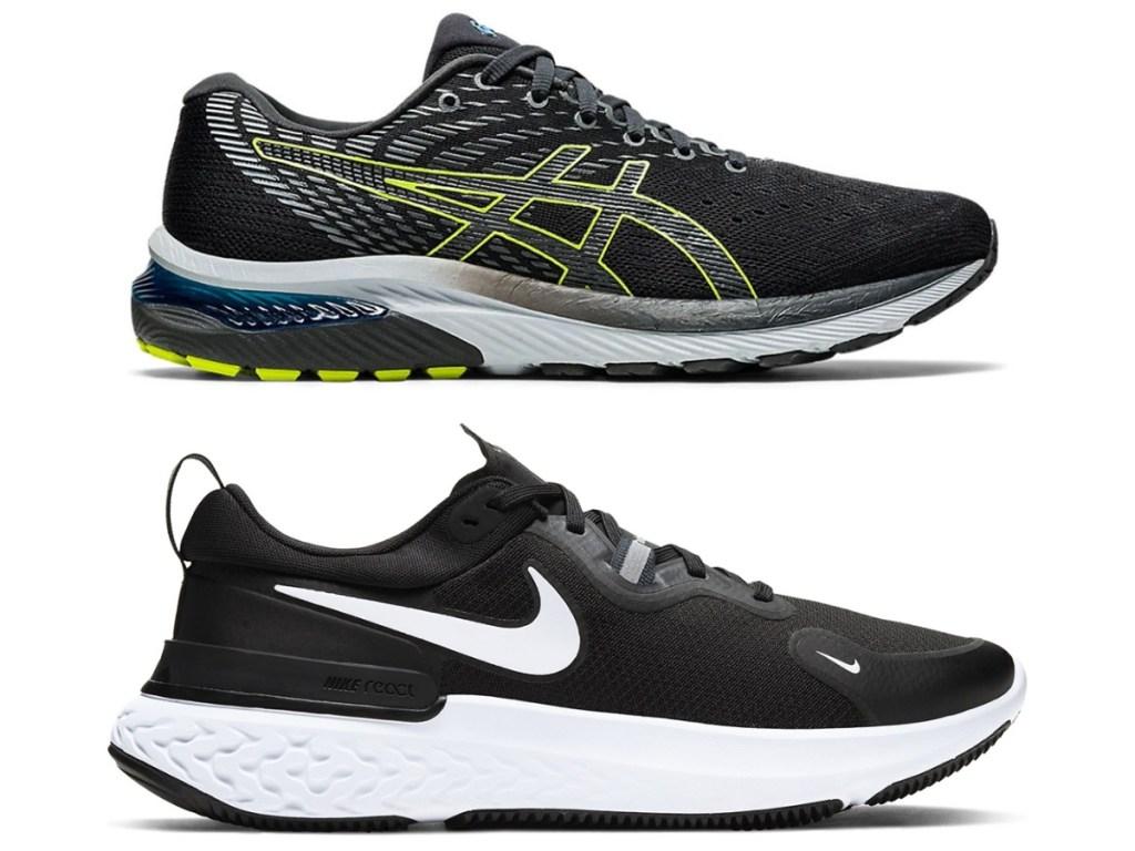 men's asics running shoe and nike miler running shoe