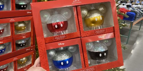 Hallmark Disney Mickey Mouse Glass Ornaments 4-Pack Only $24.99 at Costco