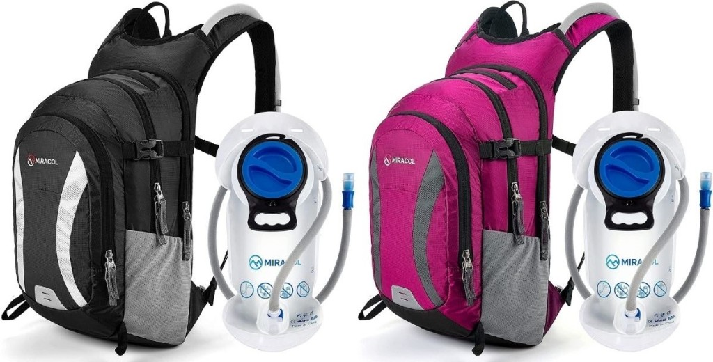 two hydration backpacks