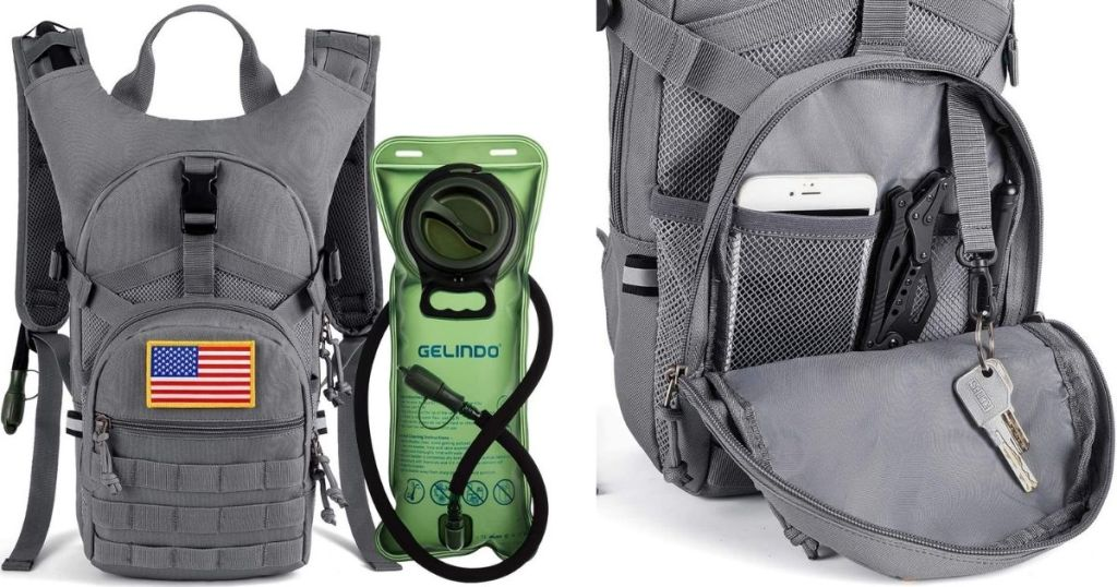 hydration backpack exterior and interior