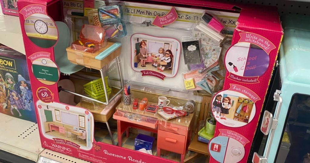 play doll school house set on shelf