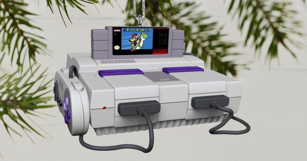 Nintendo Console ornament hanging on a tree