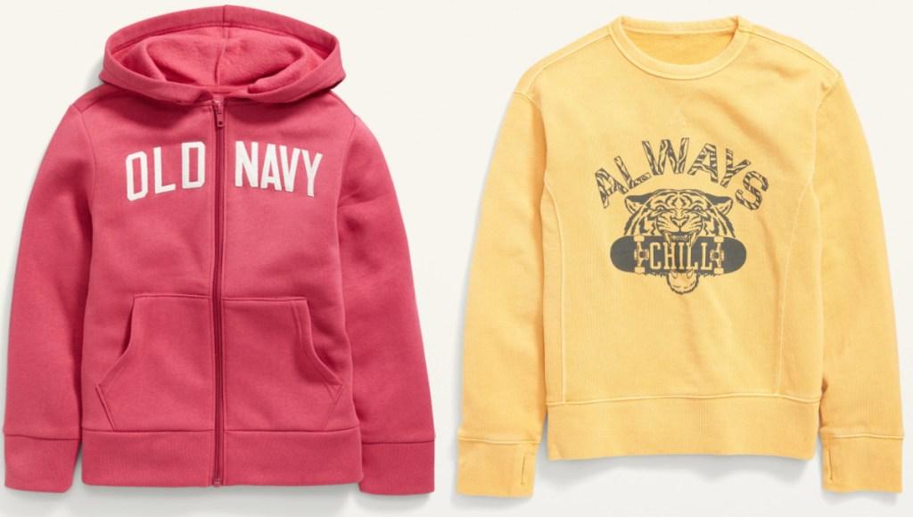 two styles of kids Old Navy sweatshirts
