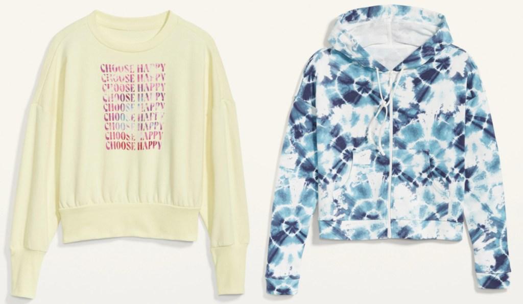 two styles of women's sweatshirts